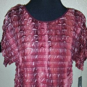 NY Collection Ruffle Tiered  Burgundy/ White Large